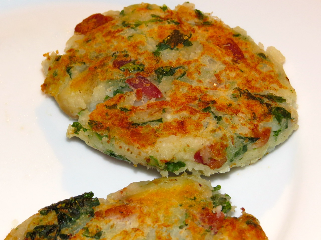 Mashed Potato and Kale Cakes ©MyNewlywedCookingAdventures 2013