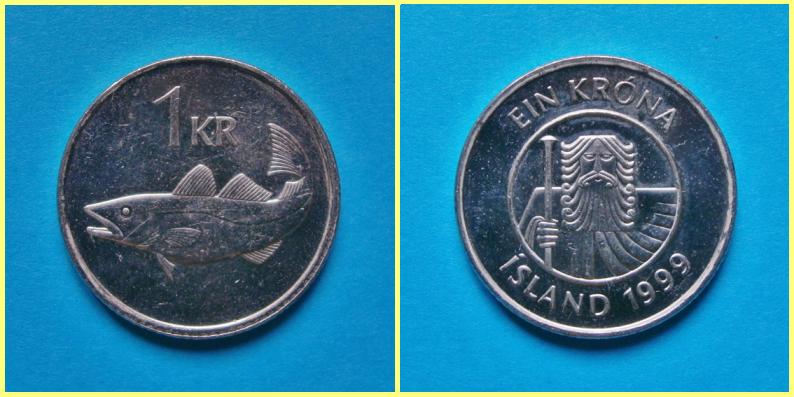 Moneda 1 Coronas Islandia