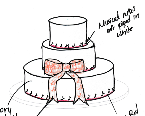 Sketch of wedding cake from Vanilla Pod Bakery