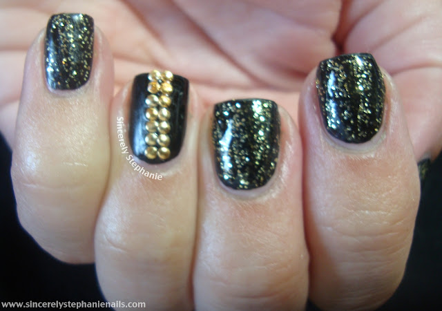 bundle monster gold and black nail art