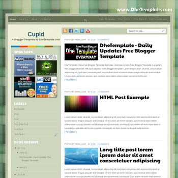 Cupid blogger template. convert wordpress theme to blogger template. template blogger elegant 2 column. 4 column footer template blogger