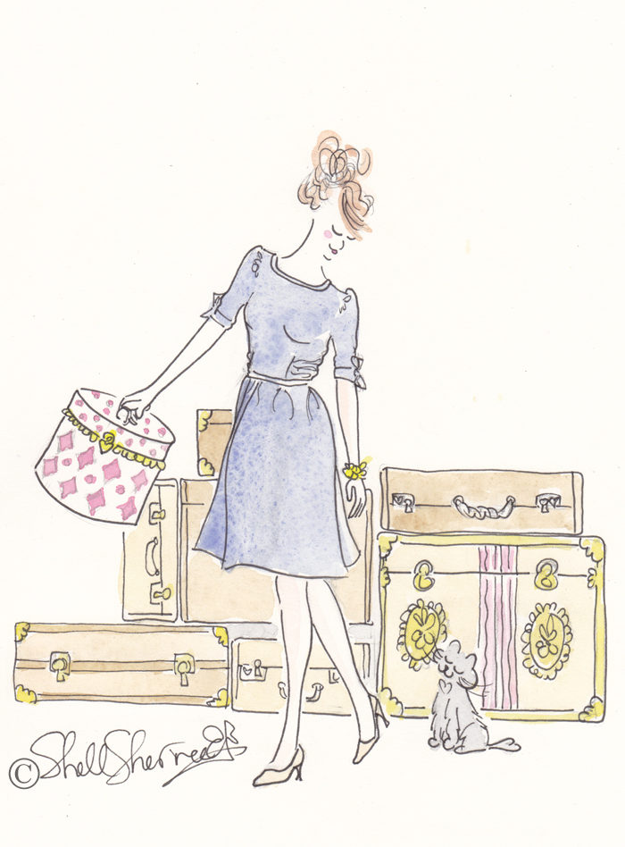 shell sherree, fashion illustration, cat illustration, travel