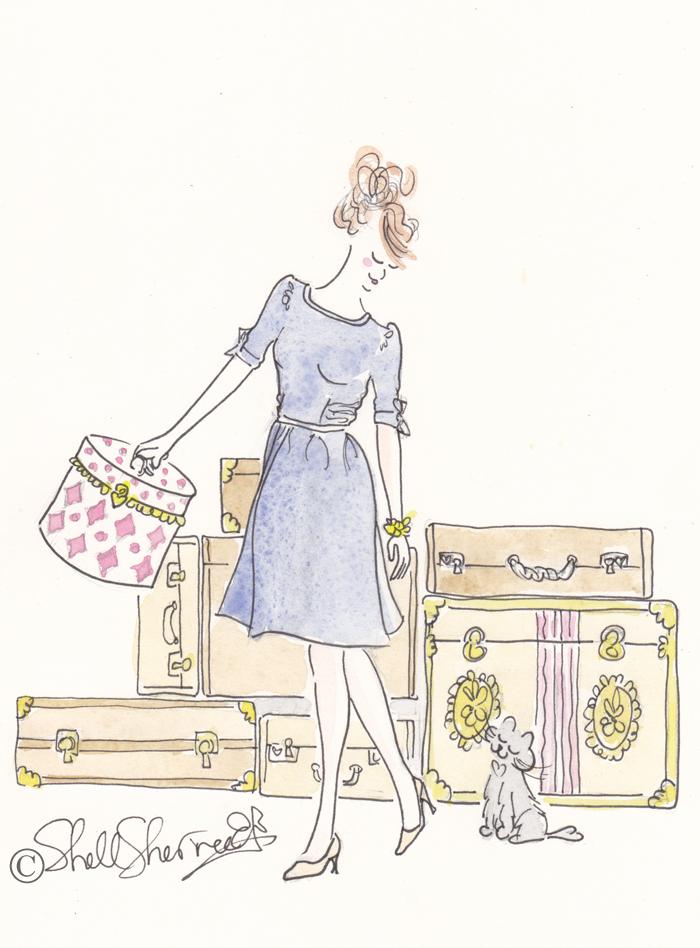 shell sherree, fashion illustration, cat illustration, travel