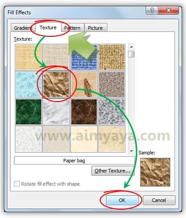 Gambar: Memilih paper bag sebagai tekstur background dokumen microsoft word 2010