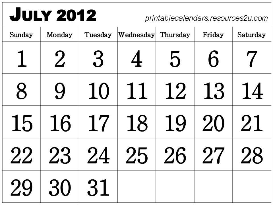 June July 2012 Calendar Printable