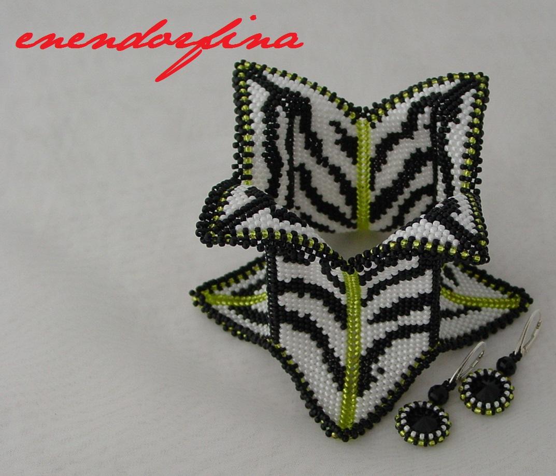 Contemporary Geometric Beadwork zebra