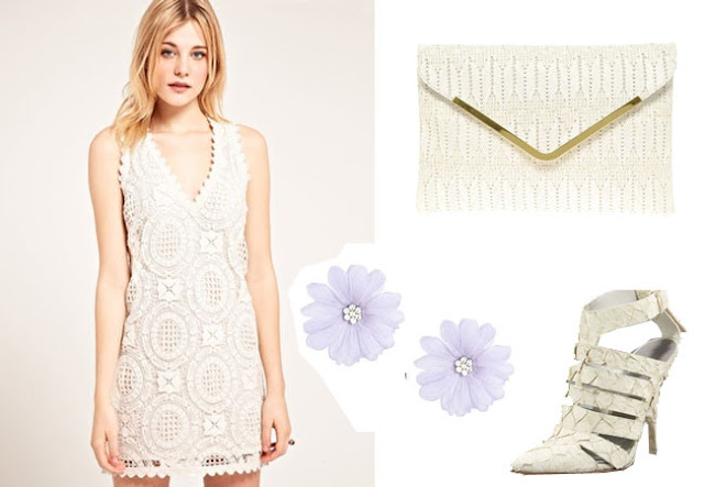 flower arrings, alexander wang fish shoes, lace dress,spring look, white look,