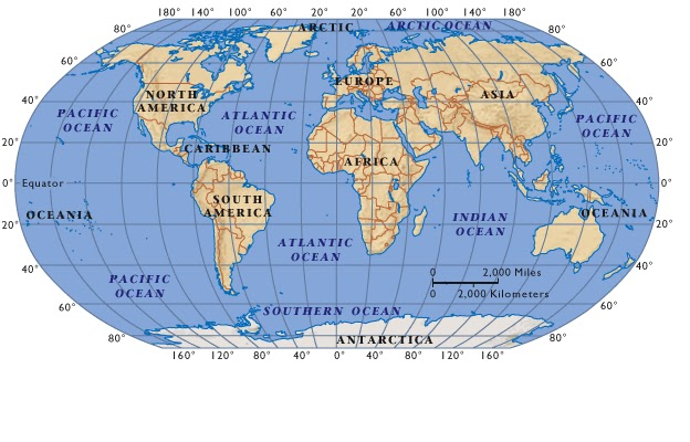 World Map The Continents and the Oceans of the World Virtual kidspace