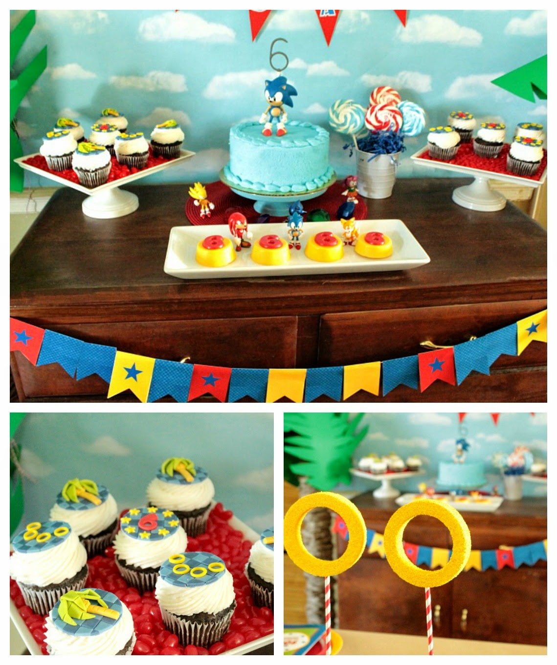 sonic the hedgehog cupcake toppers, sonic the hedgehog sweets table, sonic the hedgehog parties