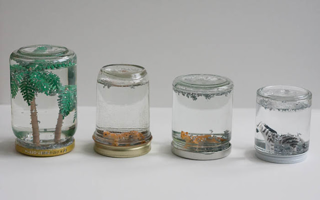 homemade snow globes from empty jars