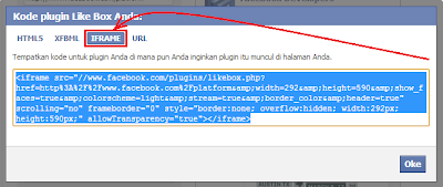 Tampilan kode plugin like box facebook