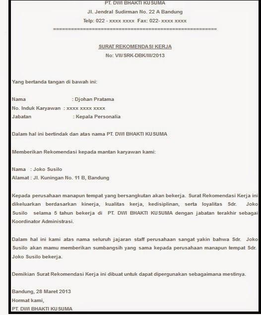 Contoh Surat Rekomendasi 2018 Mei 2018 | Pendaftaran CPNS 2018
