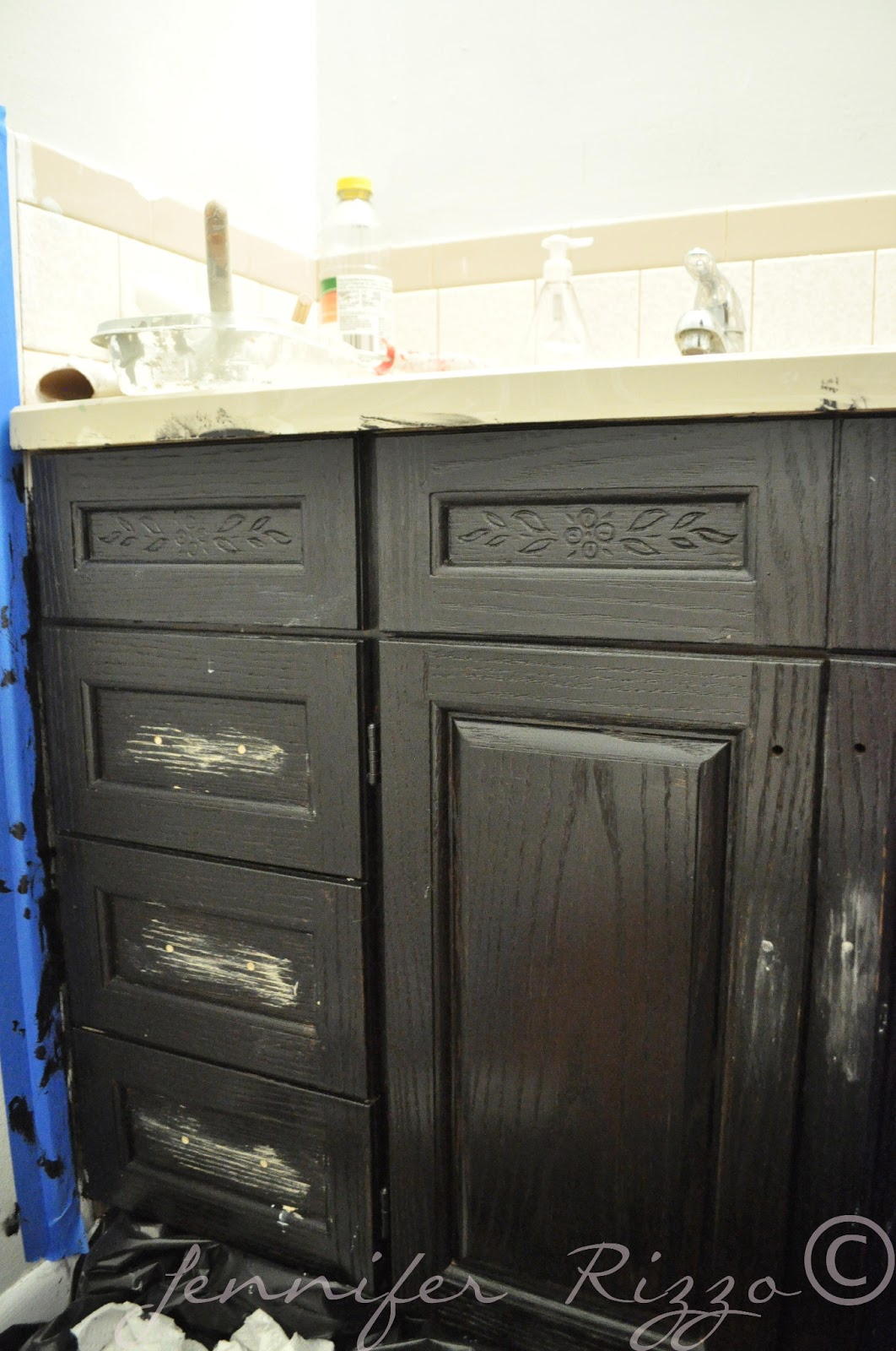 the oak house project updated bathroom cabinet makeover jennifer rizzo. Black Bedroom Furniture Sets. Home Design Ideas