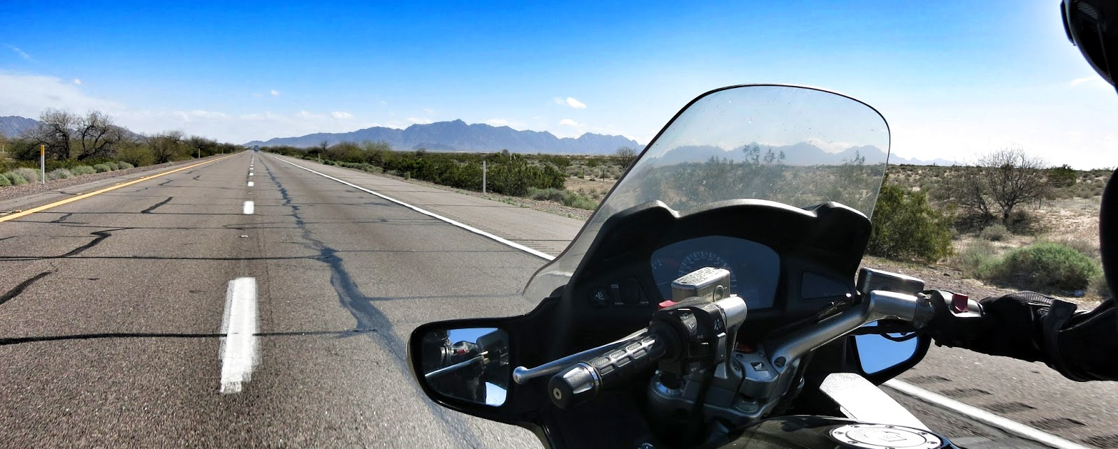 riding a motorcycle on the interstate