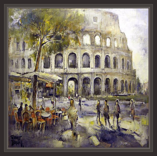 ROMA-COLISEUM-MONUMENTOS-PINTURA-CUADROS-PINTOR-ERNEST DESCALS-