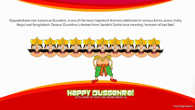"""A time for celebration, A time for victory of good over bad,Let us continue the same """"true"""" spirit. Blessing of Dussehra."""
