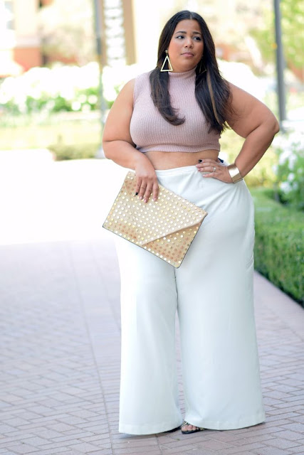 plus size white pants and cropped top