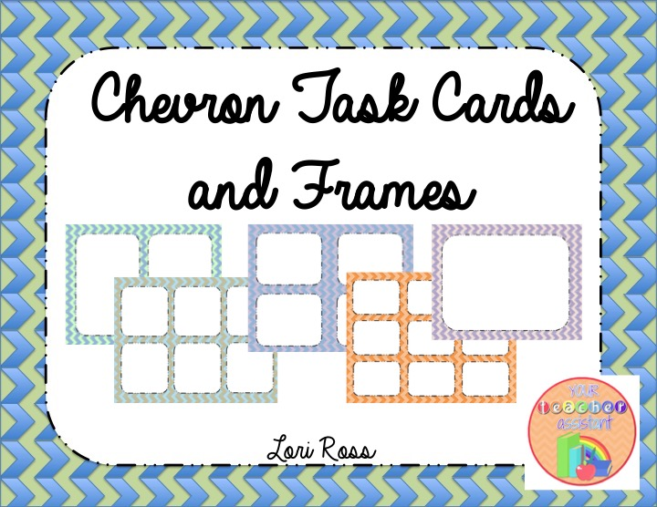 your teacher assistant editable chevron task cards and frames. Black Bedroom Furniture Sets. Home Design Ideas