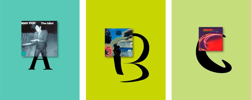Alfabeto musical a partir de portadas de vinilos
