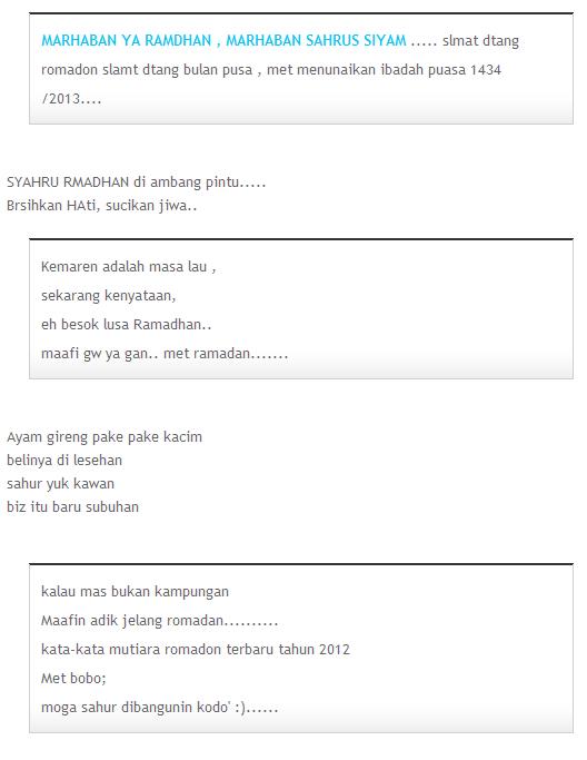 SMS Ucapan Selamat RAMADHAN 1436 / 2015