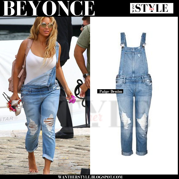 Beyonce in denim distressed Paige Denim overalls streetstyle september 2015