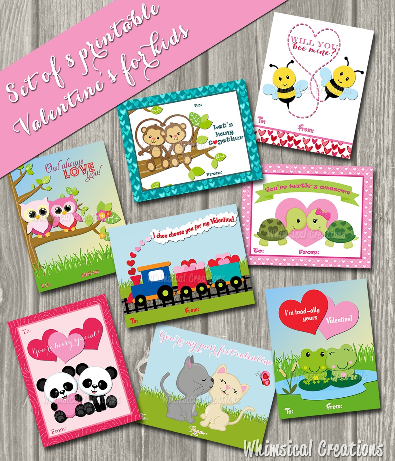 This is a photo of Eloquent Printable Valentine Cards for Kids