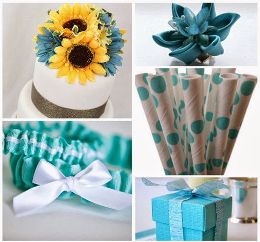 aqua wedding color theme favors