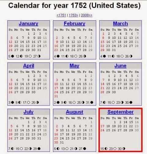 Ternyata di kalender tahun 1752 dunia pernah hilang 11 hari