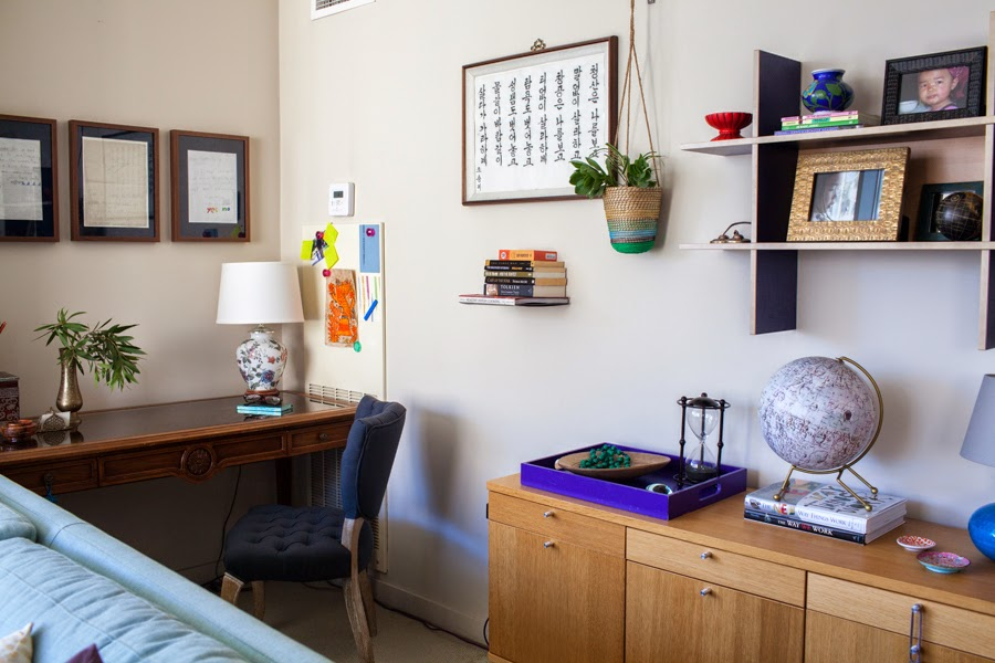 The Two Photos Above Show Separate Office Area Behind Sofa We Kept A Consistent Color Scheme Throughout Open Space Which Is Pretty Unusual For