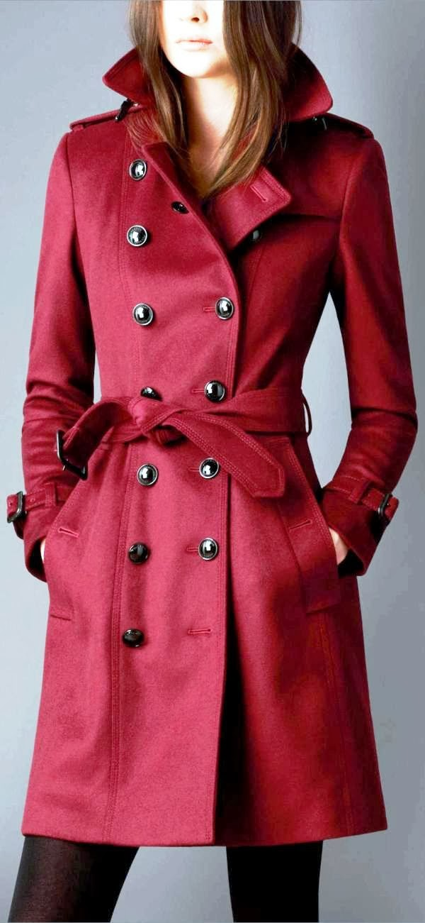 Gorgeous red warm trench coat trend fashion