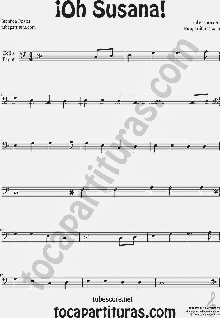 ¡Oh Susana! Partitura de Chelo y Fagot Sheet Music for Cello Basoonn