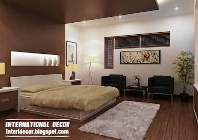 Newest Bedroom Colour Schemes With Contemporary Gypsum Ceiling Brown