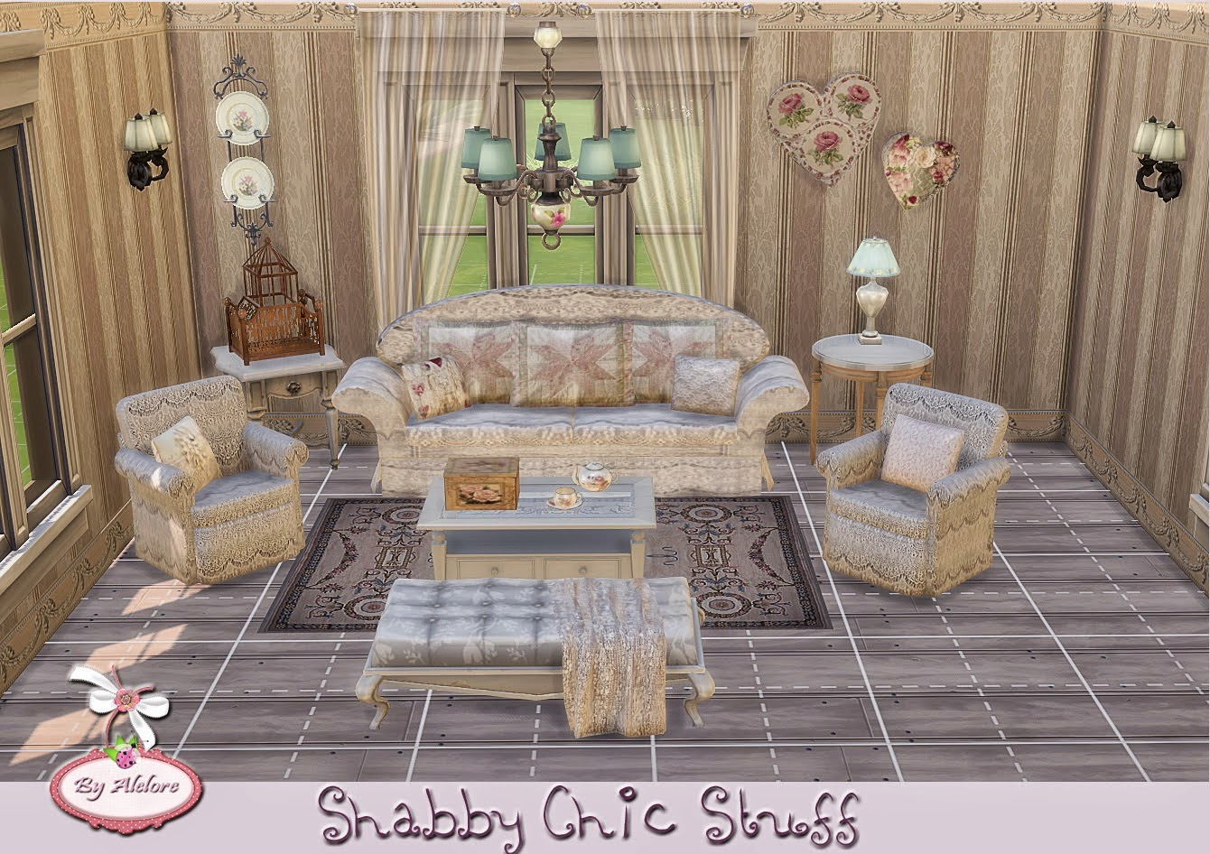 my sims 4 blog shabby chic living recolors and wallpaper. Black Bedroom Furniture Sets. Home Design Ideas