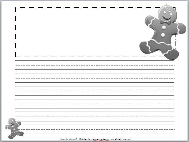 Winter Primary Writing Paper Set of december writing