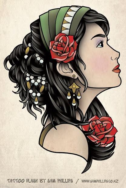sams gypsy head tattoo