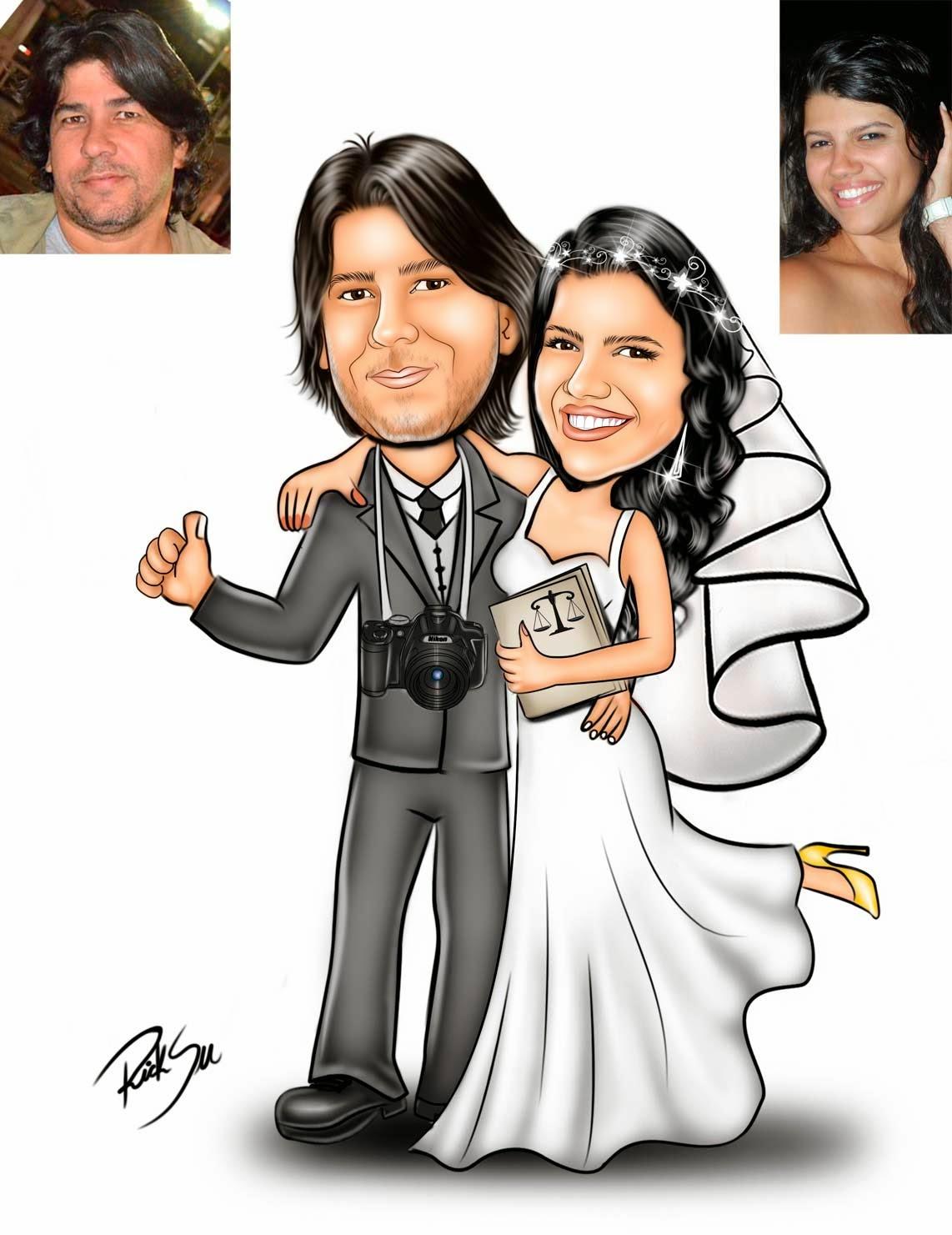 caricatura de noivinhos com fotografo e direito