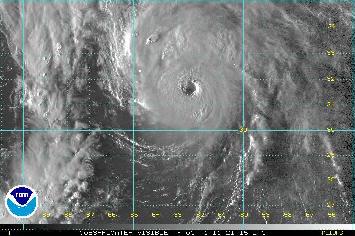 EYE OF THE STORM: Hurricane Ophelia = BEAST!