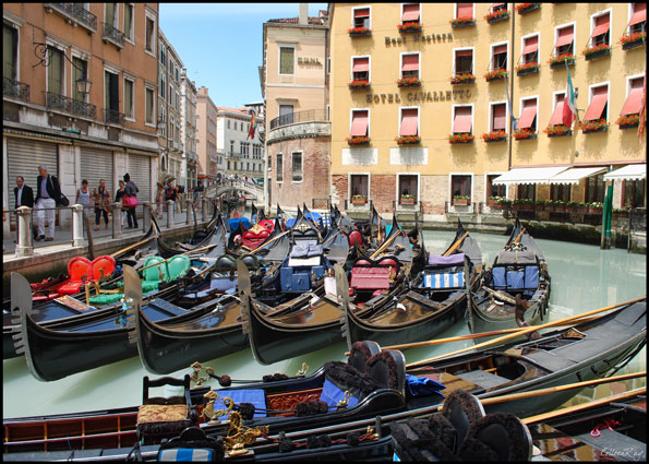 Groups of gondolas in Venice