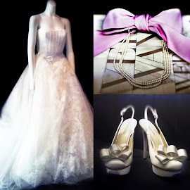Vera Wang strapless wedding gown and accessories.