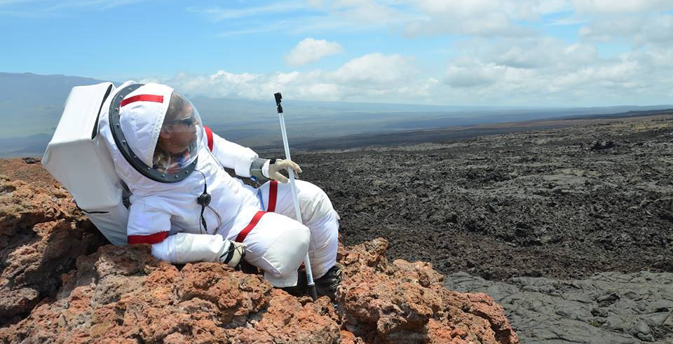 Ross Lockwood in simulation suit as part of HI-SEAS Mission 2. Photo credit: Casey Stedman.