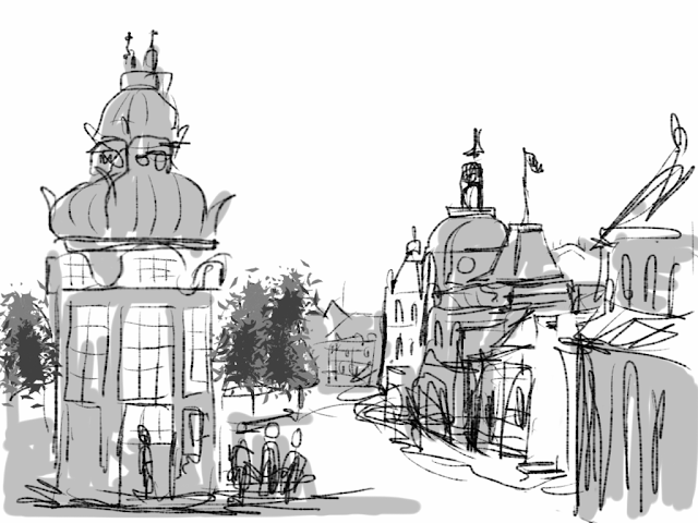 Kongens Nytorv in Copenhagen.  A sketch drawn on iPad by Artmagenta.