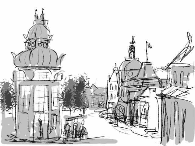 Kongens Nytorv in Copenhagen.  A sketch drawn on iPad by Artmagenta.