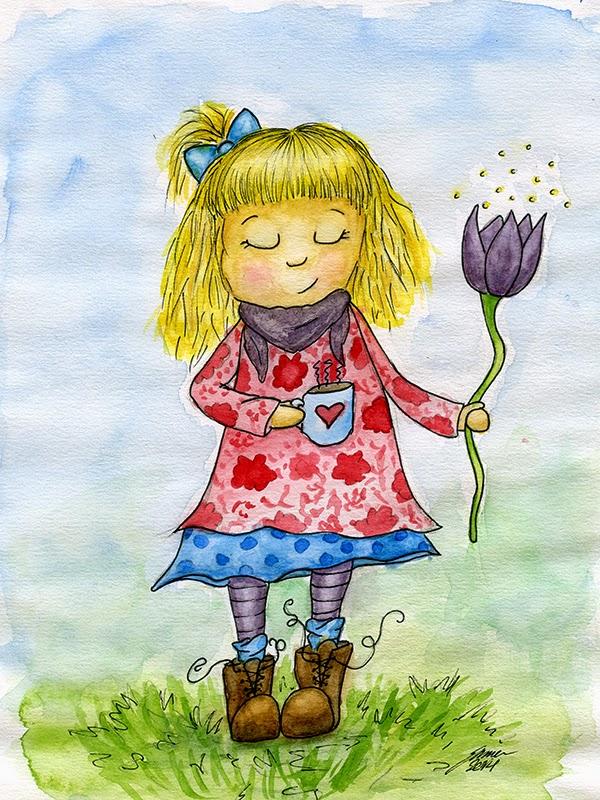 tecknad flicka med kaffekopp och blomma