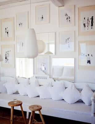 white sofa with wallart