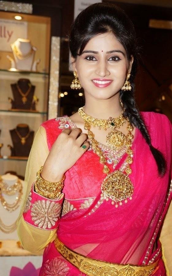 Actress Shamili Latest Cute Hot Exclusive Transparent Pink Saree Navel Show Spicy Photos Gallery at Manepally Dhanteras Jewellery Collections Launch