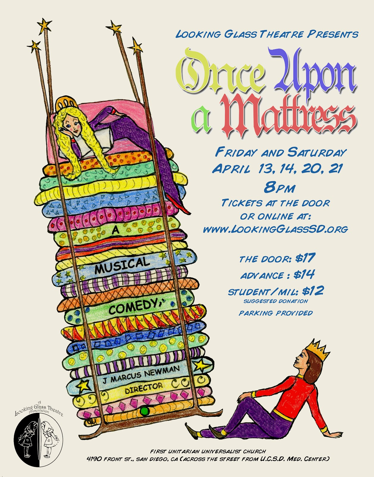 Starting this Friday, I will be appearing in Looking Glass Theatre's  production of Once Upon a Mattress!