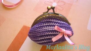 Monedero crochet, ganchillo, con boquilla metalica circular
