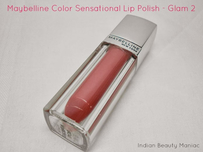 Maybelline Color Sensational Lip Polish in Glam 2 packing, review and swatch