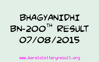 BHAGYANIDHI BN 200 Lottery Result 7-8-2015