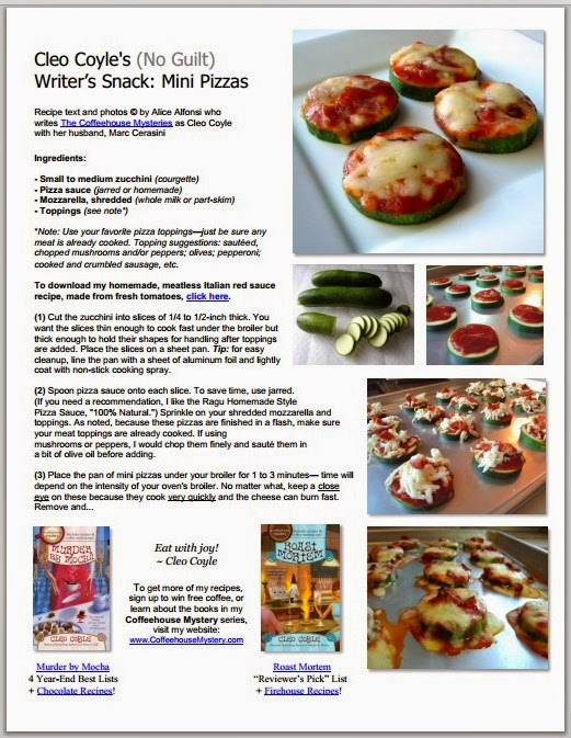 Cleo coyle recipes no crust mini pizzas my no guilt writers cleos free recipe pdf forumfinder